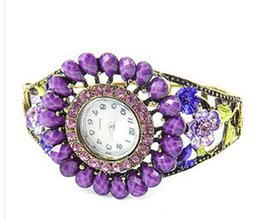 Wholesale women antique alloy flower dial window digital watch colorful Rhinestones wristwatch