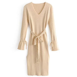 Knit slim dress autumn and winter new women's European and American style fashion lace belt V-neck trumpet sleeve dress