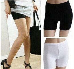 Wholesale Girls lladies large ice silk pants black and white color antiseptic safty shorts women stretch absorbent underwear FREE SZIE