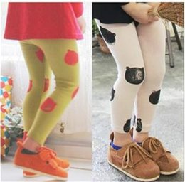 Wholesale Bear Pattern New Girl Pants Leggings Baby Cloth Winter Protection Kids Princess Trouser Clothes Children Clothing Hot Sale