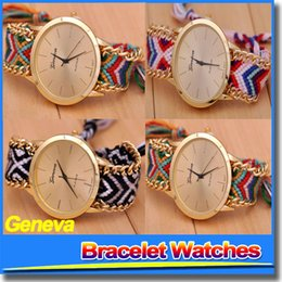 Wholesale Best Brand New Fashion Handmade Bracelet Chain Watch Hand woven Watches Fabric Strap For Women Ladies Wristwatches