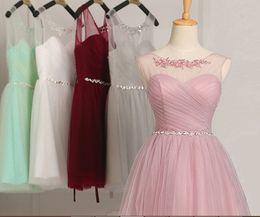 Acheter en ligne Robe de conception de cristal courte-Conception courte plis sucrés robe de soirée 2015new fashion double-épaule cristal dentelle soirée robe de bal robe de soirée formelle livraison gratuite