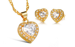 Beautifully set auger zircon necklace + earrings suit wholesale KX621 The bride beautiful gift