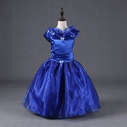 Descuento cenicienta niños vestido del partido Vestido de fiesta de la mariposa de tul azul de las nuevas muchachas del vestido de bola vestidos de los niños del vestido de Cenicienta princesa de los cabritos del Bowknot