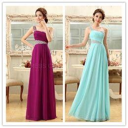 Elegant A_Line Beading One Shoulder Bridesmaid Dress Zipper Sleeveless Sweethert Chiffon Sweep Train Bridesmaid Dresses evening dresses