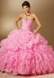 Wholesale New Arrival Lonely Quinceanera Dresses Sweetheart Ball Gown Beaded Sleeveless Floor Length Lace up Organza Quinceanera Gowns