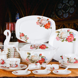 Supply of 70 bone china tableware suit wedding wedding gift Swan Kiss gift ceramic glaze color a014