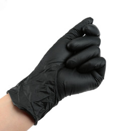 Wholesale 100Pcs Black Powder free Ambidexterous Nitrile Gloves Disposable Tattoo Rubber Gloves Three Sizes S M L W1183
