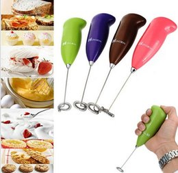 Wholesale Egg beater Coffee Milk Drink Electric Whisk Mixer Frother Foamer Mini portable stainless steel Kitchen Cooking egg stiring Tools gift