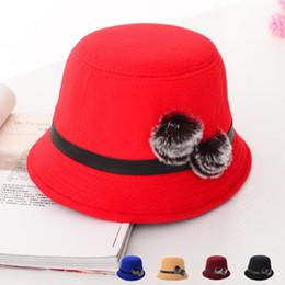 Chapeau souple rond en Ligne-Gros-2015 New Fashion Fedoras Hat pour les femmes feutre de laine Retro Bowler Hats Fedora Floppy ballon rond Chapeau Femme Hiver DFM-701