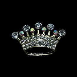 Wholesale Gold Plated Clear and AB Rhinestone Crystal Diamnte Crown Tiara Brooches Gift for Pageant
