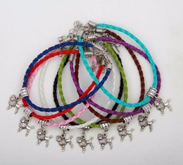 Wholesale Hot Vintage Silver Poodles Dog Charms Pendants Mixed Color Braided Rope Bracelets Fashion Jewelry DIY For Women amp Men S962