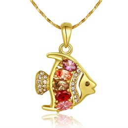 Wholesale 2015 New Design K gold plated fish pendant necklace with crystal zircon fashion jewelry Beautiful Valentine s Day gift for girls