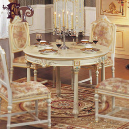 Wholesale European simple wood furniture carved wood hand painted custom French country dining table round table