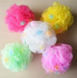 Wholesale Mesh Bath Foaming Pouf Shower Sponge Twice Removal of Dead Skin Exfoliation Soft Colorful Grams Bath Flower Ball