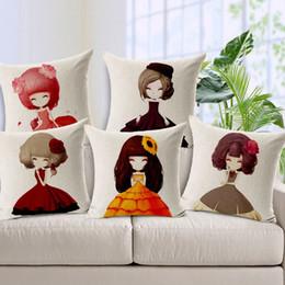 High Quality Cotton Linen Pillow Case Cute Girls Flowers Printed Decorative Pillowcase Vintage Pillow Cover 45x45cm