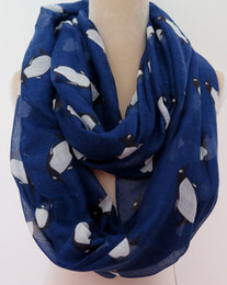 Animal Printed Cotton Ring Scarf Lovely Penguin Infinity Scarf Snood Women's Party Event Accessories Free Shipping