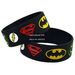 Wholesale Shipping Super Hero Silicon Wristband Bracelet Superman Batman Green Lantern The Flash Wristband quot Wide Band