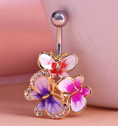 Wholesale Epoxy Enamel Esmalte Colares Butterflys Belly Button Rings Sexy Body Piercing Jewelry Bars Piercings Navel Piercing Gothic Unhas