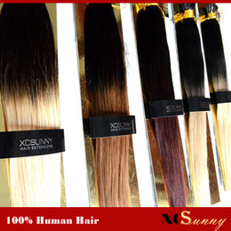 """XCSUNNY 100% Remy Indian Hair Ombre I Tip Hair Extensions 18""""20"""" 1g s Extension Hair Keratine Blonde Human Hair Extension"""