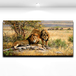 Wholesale Wild King Lion Animal Oil Painting Printed on Canvas Modern Mural Art Picture for Home Living Hotel Office Wall Dceor