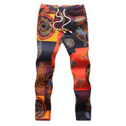 Wholesale-Linen Pants Men 2015 Printing Floral Wild Rope Thin Section Loose Pantalones Man Waist Hip Hop Men's Nation Linen Pants Men