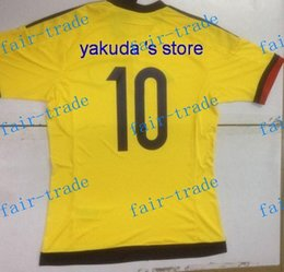 Wholesale Discount Colombia Home Yellow James Soccer Jersey Customized Soccer Jerseys Outdoor Apparel Football Jersey