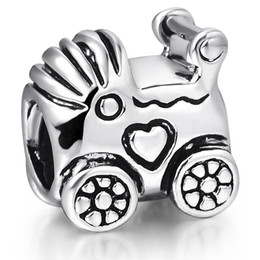 925 Sterling Silver Baby Carriage European Charms Heart Beads For Pandora Snake Chains Bracelets Necklace Wholesale Charm