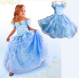 2015 New Movie Summer Cinderella Princess Kids Cosplay Costume Dresses Girl Fancy Dress Live Action Film party dresses for 4-12Y