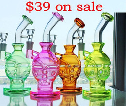 Glass Fab Egg Glass Bong 9 inches Colorful Skull Bong scientific Glass Dab Two Function Dry Bowl Oil Rigs Carb Cap