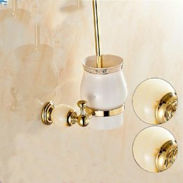 Wholesale And Retail Luxury Wall Mounted Bathroom Toilet Brush Holder Ceramic Cup Golden Brass Marble Holder Accessories