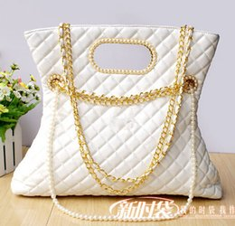 Wholesale-2015 New Black Quilted Shoulder bag High Quality Classic Brand Design Women's Pearl Handbag with Gold Chain Bags