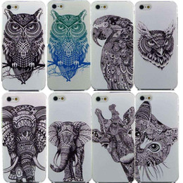 Wholesale Vtg Style Head Case Aztec Elephant Giraffe Animal Hand Drawn Animal Back Case Cover For iPhone s s
