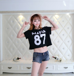 Women Crop Tops 2016 New Fashion Sexy Cropped T-shirts for Woman Number 87 T-Shirt Printed Cotton Tops Tee Casual Belly TShirt