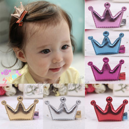 Wholesale Hot Baby Girls Leather Xmas Gifts Party Hair Clips Crown Princess Barrette Ribbon