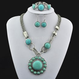 Wholesale S5556 Necklace Earring Bracelet Turquoise Turquoise bead not plastic or resin Vintage Look Tibet antique Silver jewelry set
