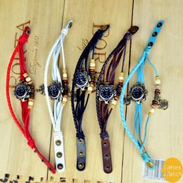 free shippingWholesale New arrival Fashion vintage retro beaded braided rope bracelet wrap quartz cow leather wrist watch women