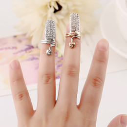 New Exquisite Cute Retro Queen Flash CZ diamond rings Design Rhinestone Gold Silver Ring Finger Nail Rings - 0024WR