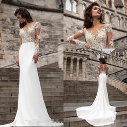 Sexy Long Sleeves Lace Wedding Dresses 2018 Milla Nova Beach Mermaid Sweep Train Sheer Back Bohemian Wedding Dress Plus Size Bridal Gowns