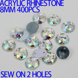 AAA 8mm 400PCS AB Color Superior Taiwan Acrylic Flat Back Stones Round Circle Shape Acrylic Rhinestone Sew On 2 Holes
