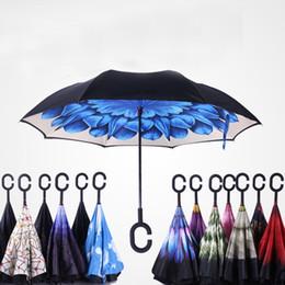 C Handle self stand umbrella inverted folding umbrella double layer reverse multi color sunny rainy umbrella creative style gifts