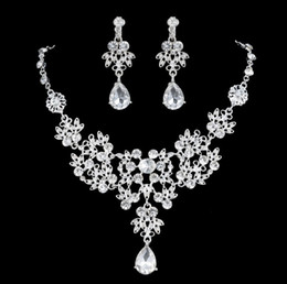 Cheap Crystal Rhinestone Silver Plated TearDrop-Shaped Necklace Earrings Set Bridal Bridesmaid Prom Party Jewelry Accessory ZM