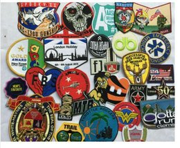 Wholesale mix applique embroidery college badge blossom Hot melt adhesive clothing patch