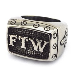 Wholesale Stainless Steel FTW Biker Ring Outlaw Middle Finger in Vintage Antique Style for Men Live to Ride Bikers with sizes from to Brand New