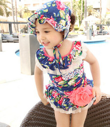 HOT 2018 new kids one-piece bathing suit with a big flowers children Swimwear korean sweet style printing girls bikini swimsuit 2-8age ab751