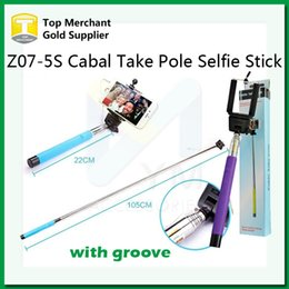 Wholesale Z07 S Cable Take Pole wired Selfie Stick Extendable Handheld with Groove Monopod Built in Shutter and Clip for iPhone Smart Phone Android