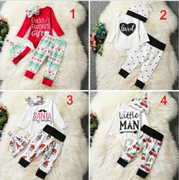 5 Styles Baby Ins Clothing Set 3pcs 4pcs set (romper+legging+hat) Infant Newborn Christmas Cartoon deer Xmas Printed Jumpsuits Outfits