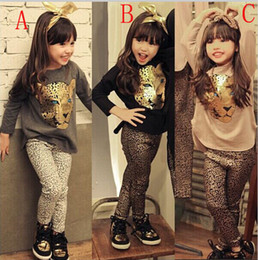 Retail New Girls Clothing Sets Baby Kids Clothes Children Clothing Full Sleeve T Shirt Leopard Legging
