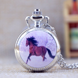 Wholesale New Fashion Silver Elegent Lovely horse with Mirror Case Quartz Pocket Watch Analog Pendant Necklace Mens Womens Gifts P358