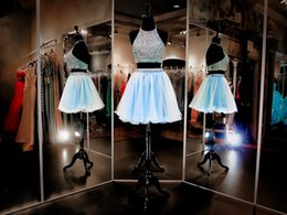 Wholesale Aqua Two Pieces Short Homecoming Dresses Formal Party Gowns KR Beaded Halter Neckline Sleeveless Multi Colored Stones Mini Prom Dress